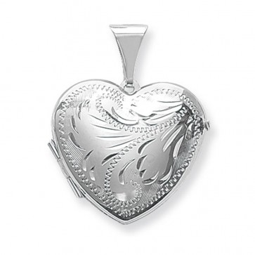 Men's Sterling Silver Full Engraved Heart Locket On A Black Leather Cord Necklace