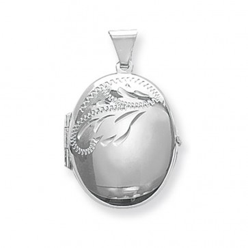 Sterling Silver Small Half Engraved Oval Locket On A Snake Necklace