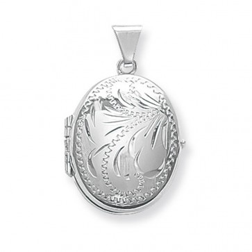 Sterling Silver Small Full Engraved Family Oval Locket On A Snake Necklace