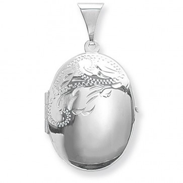 Sterling Silver Medium Half Engraved Oval Locket On A Snake Necklace