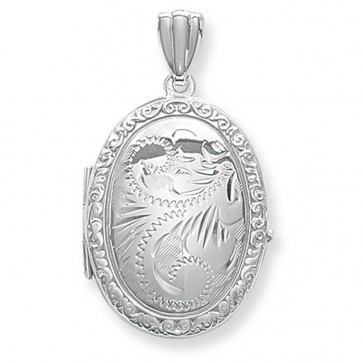 Children's Sterling Silver Full Engraved Oval Locket On A Curb Necklace