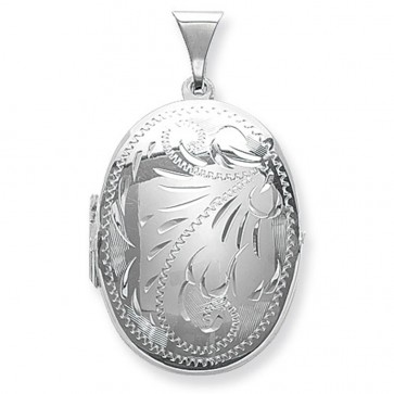 Sterling Silver Small Full Engraved Oval Locket On A Snake Necklace