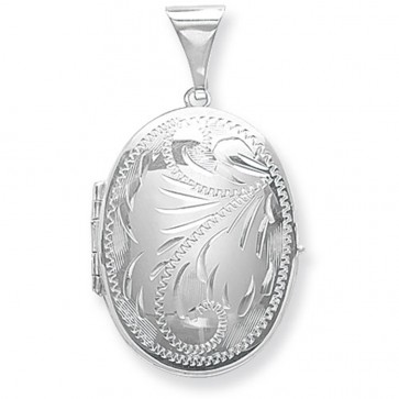 Children's Sterling Silver Large Full Engraved Family Oval Locket On A Curb Necklace