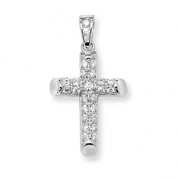 Children's Sterling Silver Small Cubic Zirconia Cross Pendant On A Curb Necklace