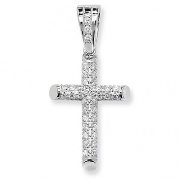 Men's Sterling Silver Medium Cubic Zirconia Cross Pendant On A Black Leather Cord Necklace