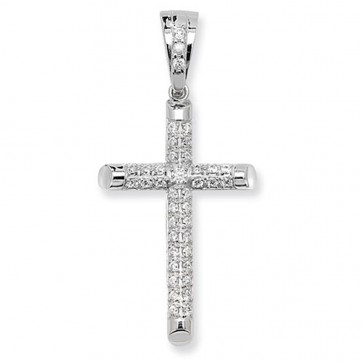 Men's Sterling Silver Large Cubic Zirconia Cross Pendant On A Black Leather Cord Necklace