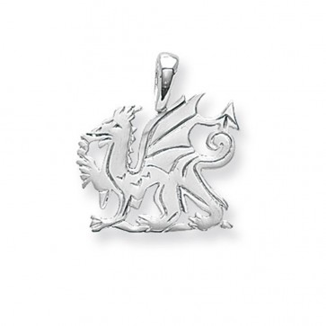 Sterling Silver Small Welsh Dragon Pendant On A Snake Necklace