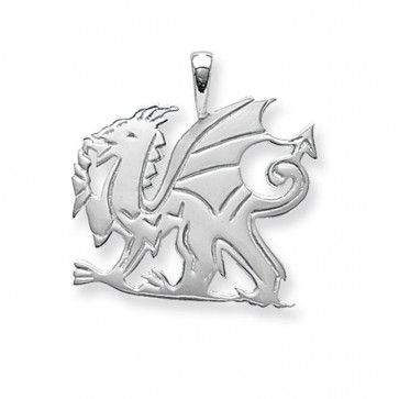 Sterling Silver Large Welsh Dragon Pendant On A Snake Necklace