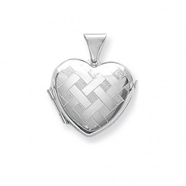 Sterling Silver Small Patterned Heart Locket On A Snake Necklace