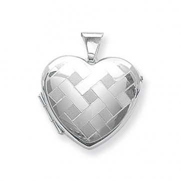 Children's Sterling Silver Large Patterned Heart Locket On A Curb Necklace