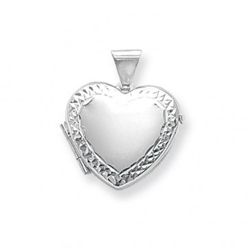 Sterling Silver Small Engraved Edge Heart Locket On A Snake Necklace