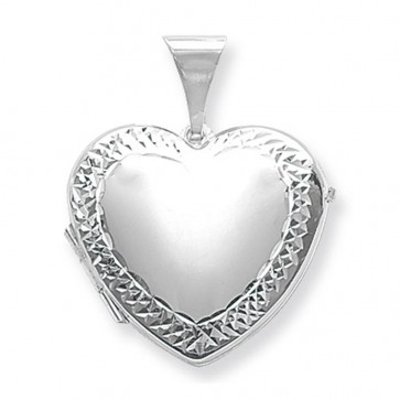 Children's Sterling Silver Large Engraved Edge Heart Locket On A Curb Necklace