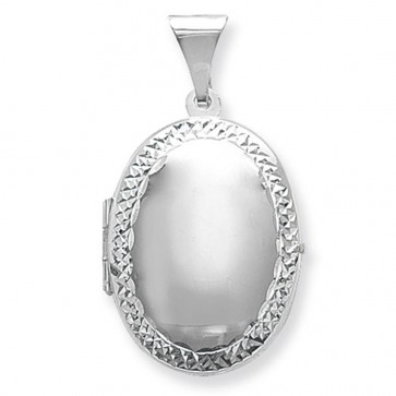Men's Sterling Silver Small Engraved Edge Oval Locket On A Black Leather Cord Necklace