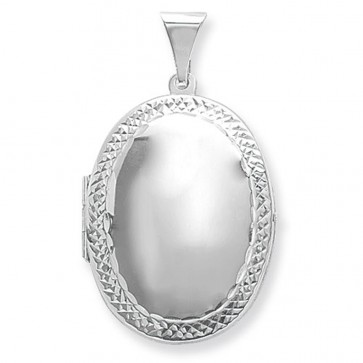 Men's Sterling Silver Medium Engraved Edge Oval Locket On A Black Leather Cord Necklace