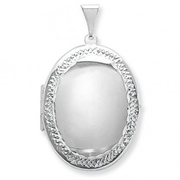 Sterling Silver Large Engraved Edge Oval Locket On A Snake Necklace