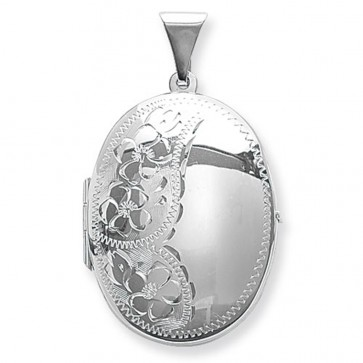 Men's Sterling Silver Flower Engraved Oval Locket On A Black Leather Cord Necklace