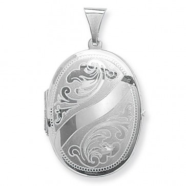 Sterling Silver Small Engraved Oval Locket On A Snake Necklace