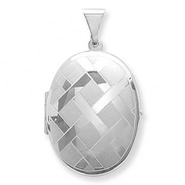 Sterling Silver Large Engraved Oval Locket On A Snake Necklace