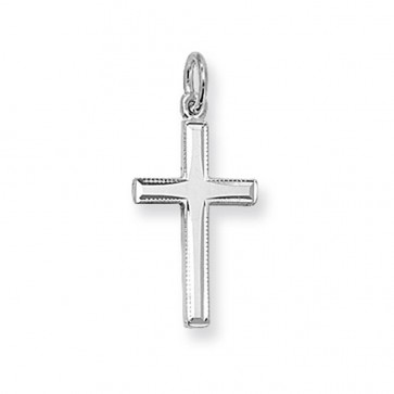 Sterling Silver Medium Plain Cross Pendant On A Snake Necklace