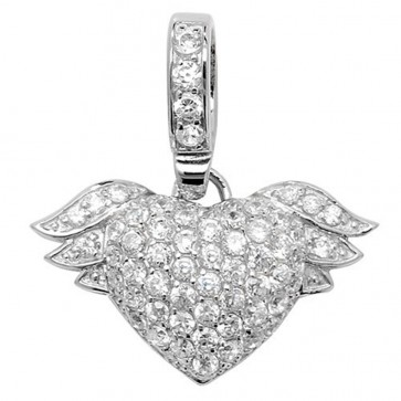 Children's Sterling Silver Cubic Zirconia Winged Heart Pendant On A Curb Necklace
