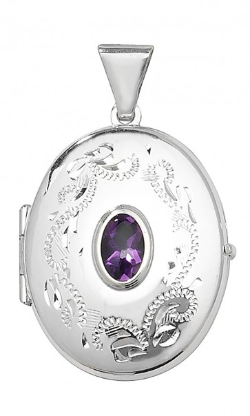 Children's Sterling Silver Amethyst Oval Locket On A Curb Necklace