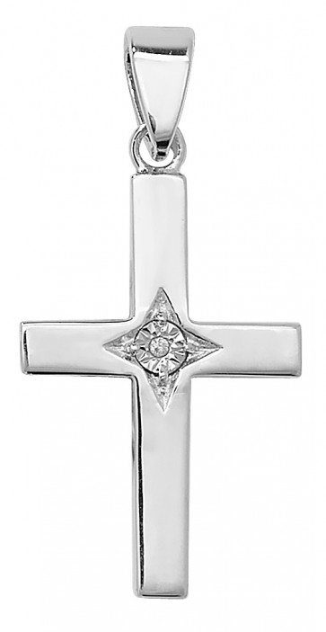 Children's Sterling Silver Cubic Zirconia Cross Pendant On A Curb Necklace