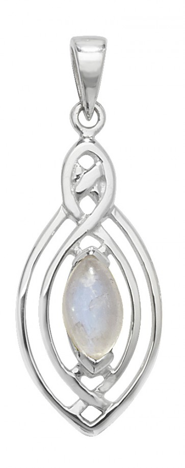 Sterling Silver Moonstone Celtic Pendant On A Snake Necklace