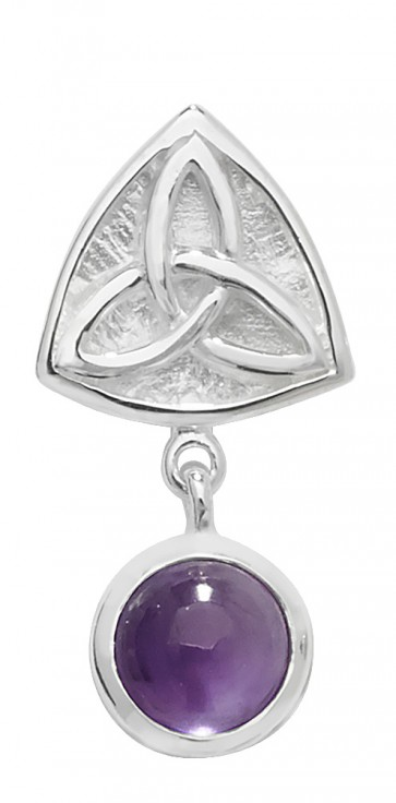 Men's Sterling Silver Amethyst Celtic Pendant On A Black Leather Cord Necklace