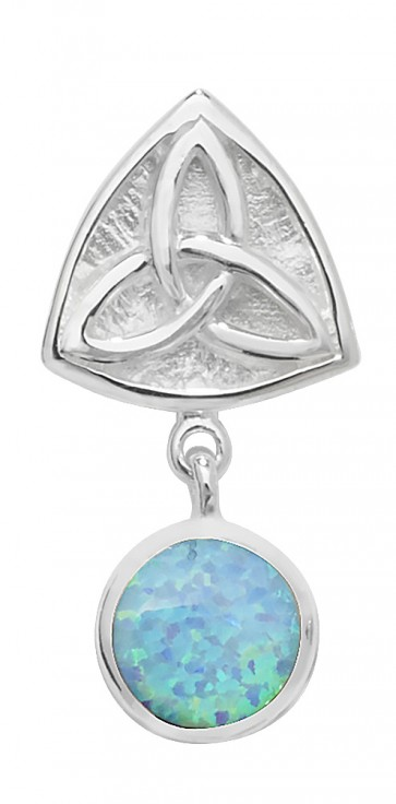 Sterling Silver Opal Celtic Pendant On A Snake Necklace