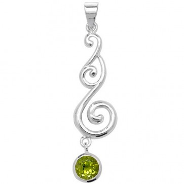 Men's Sterling Silver Peridot Celtic Pendant On A Black Leather Cord Necklace