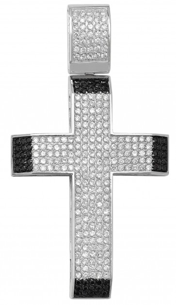 Men's Sterling Silver Bling Cross Pendant On A Black Leather Cord Necklace