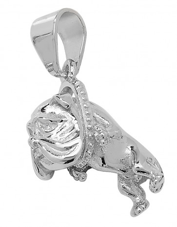 Men's Sterling Silver Small Bling Bulldog Pendant On A Black Leather Cord Necklace