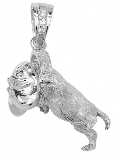 Men's Sterling Silver Medium Bling Bulldog Pendant On A Black Leather Cord Necklace