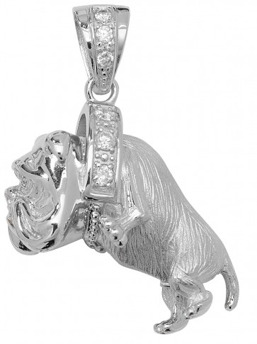 Children's Sterling Silver Large Bling Bulldog Pendant On A Curb Necklace