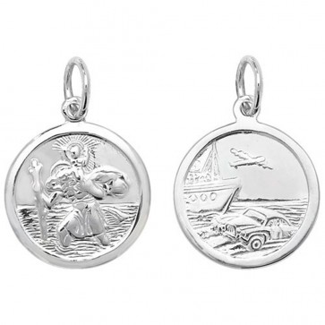 Children's Sterling Silver Medium Round Double Sided St Christopher Pendant On A Curb Necklace