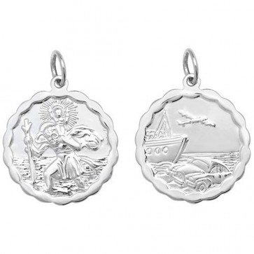 Sterling Silver Large Waved Edge Double Sided St Christopher Pendant