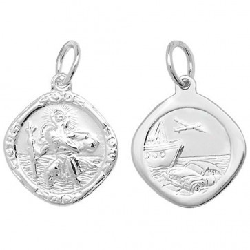 Sterling Silver Small Double Side Cushion St Christopher Pendant On A Snake Necklace