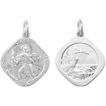 Children's Sterling Silver Large Double Side Cushion St Christopher Pendant On A Curb Necklace