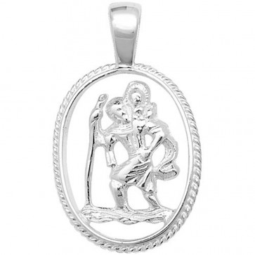Children's Sterling Silver Cut Out St Christopher Pendant On A Curb Necklace