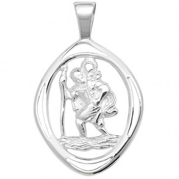 Sterling Silver Cut Out St Christopher Pendant On A Snake Necklace
