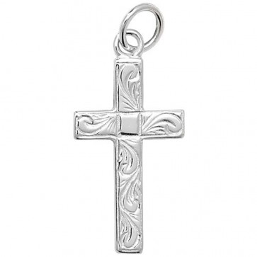 Men's Sterling Silver Small Engraved Flat Cross Pendant On A Black Leather Cord Necklace