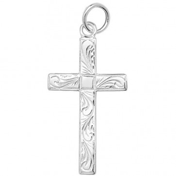 Men's Sterling Silver Large Engraved Flat Cross Pendant On A Black Leather Cord Necklace