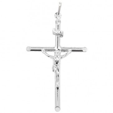 Sterling Silver Crucifix Pendant On A Snake Necklace