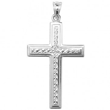 Sterling Silver Diamond Cut Cross Pendant On A Snake Necklace