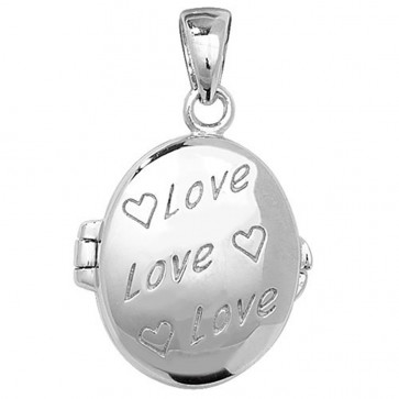 Children's Sterling Silver Love Oval Locket On A Curb Necklace