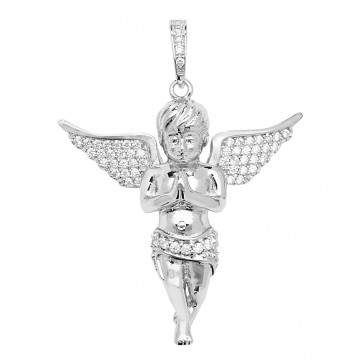 Sterling Silver Cubic Zirconia Set Angel Pendant On A Snake Necklace