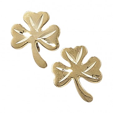 9ct Gold Shamrock Stud Earrings