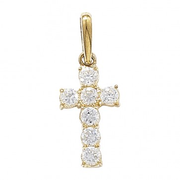 Children's 9ct Gold 7 Stone Cubic Zirconia Cross Pendant On A Prince of Wales Necklace