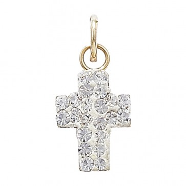 9ct Gold Crystal Cross Pendant On A Belcher Necklace