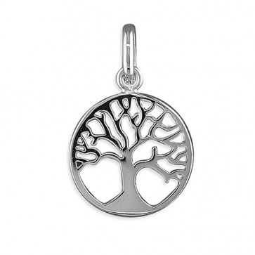 Men's Sterling Silver Small Tree-Of-Life Circle Pendant On A Black Leather Cord Necklace